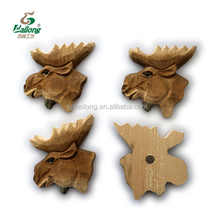 Ready to ship direct factory animal head souvenir wooden fridge magnet