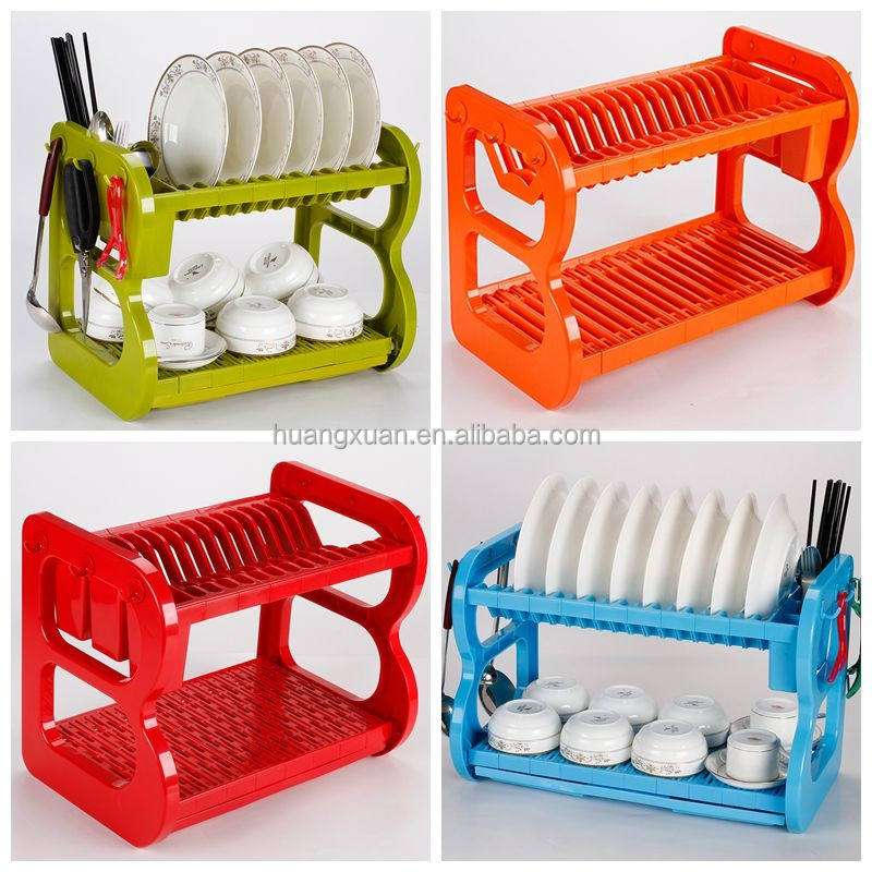multicolor dish drying rack plastic with cutlery holder