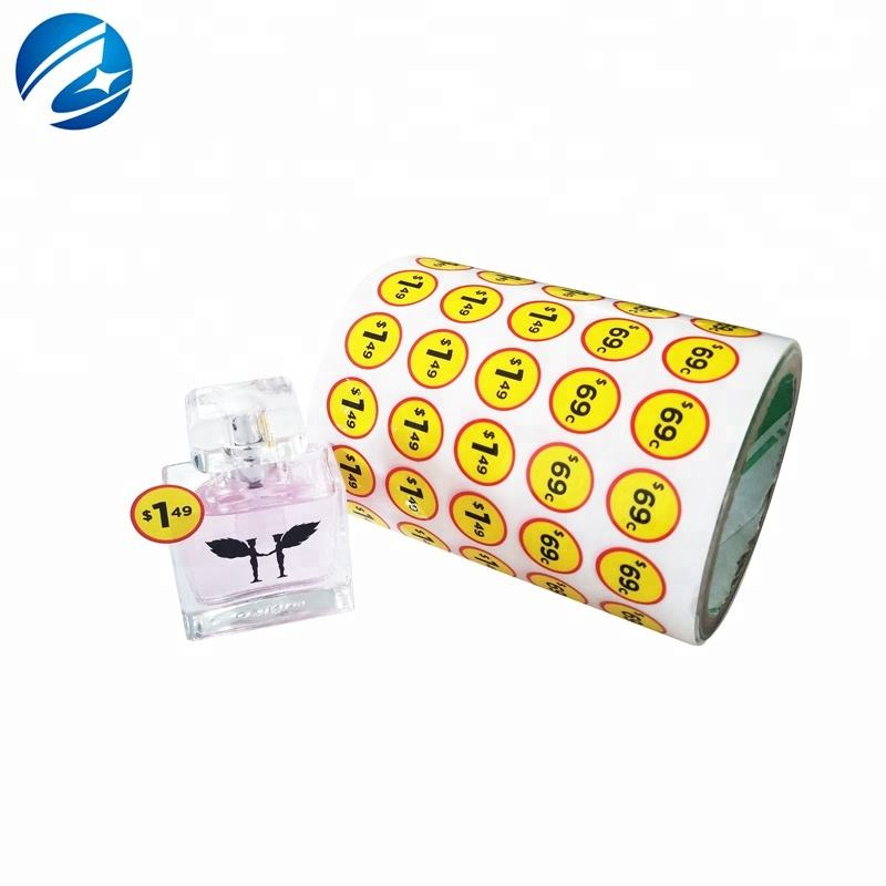 Custom Small Circle Adhesive Paper Sticker Price Tag Sticker Roll