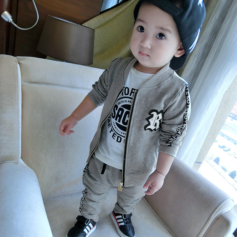 New Designs Children Sporty Clothes Gray Cotton Clothing Sets For Wholesale