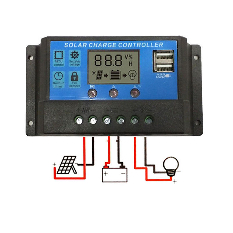 PWM 24V 12V Auto Solar Panel Charge Controller 30A 20A 10A LCD Solar Collector Regulator dengan Dual USB Grosir