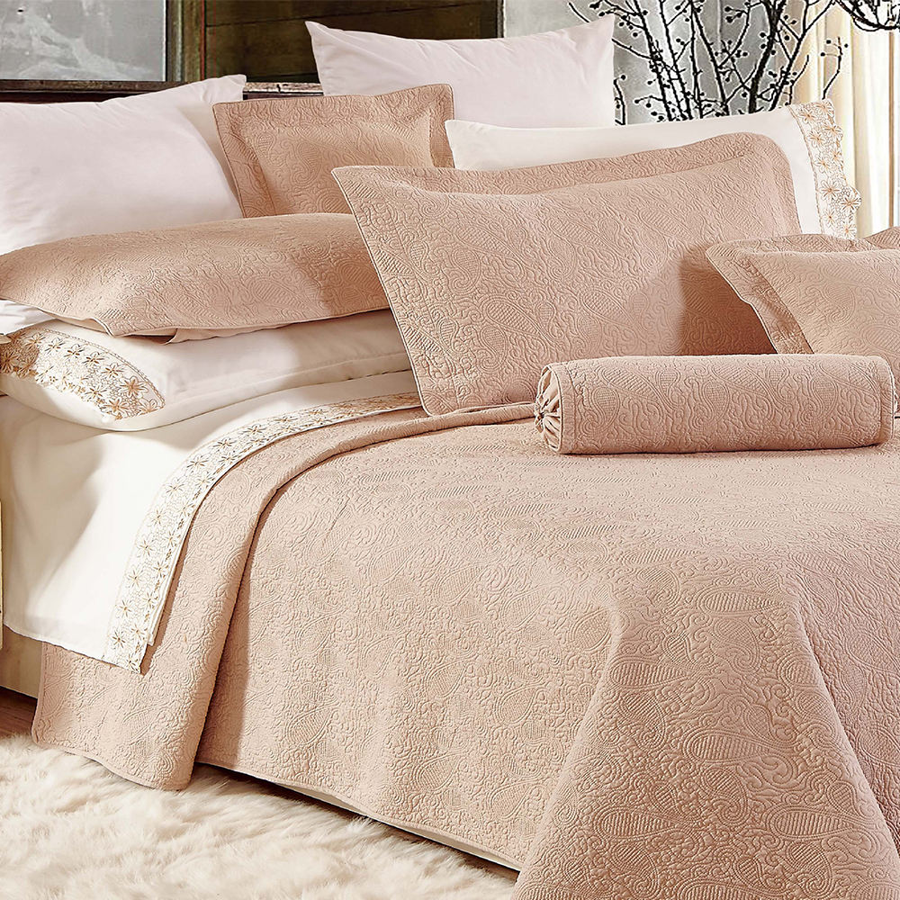 Nantong factory bedding linen 100% cotton solid color quilted bedspread