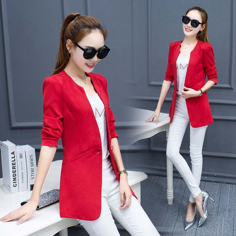Women's Juniors Work Office OL Open Front Round O neck One Button Suit Boyfriend Long Slim Fit Blazer Business jacket