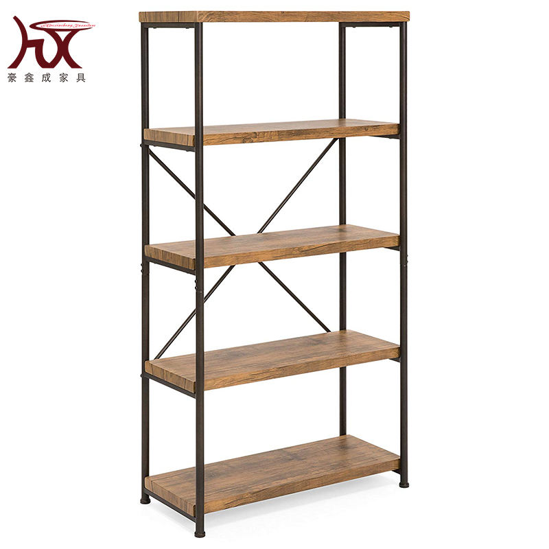 Portable modern furniture large tall bookcase,5 tiers industrial metal ladder book shelf wooden for living room