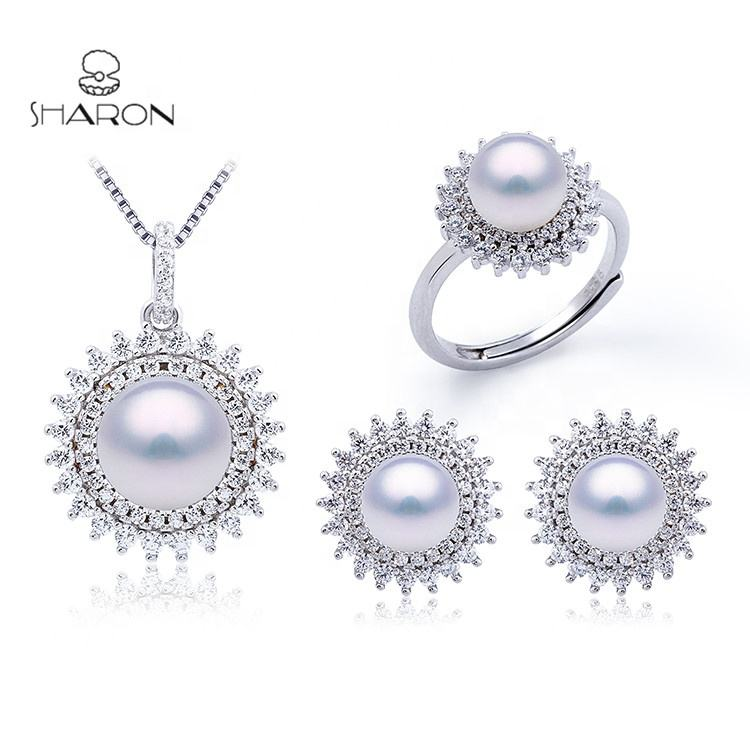 Wholesale Bridal New Design 925 Sterling Silver Pearl Jewelry Set for Women