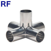 RF DIN SMS 3A Sanitary Stainless Steel 304 316L Welded 5 Way Cross Pipe Fitting