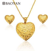 BAOYAN Wholesale African 18K Gold Plated Heart Wedding Bridal Stainless Steel Jewelry Set 2019