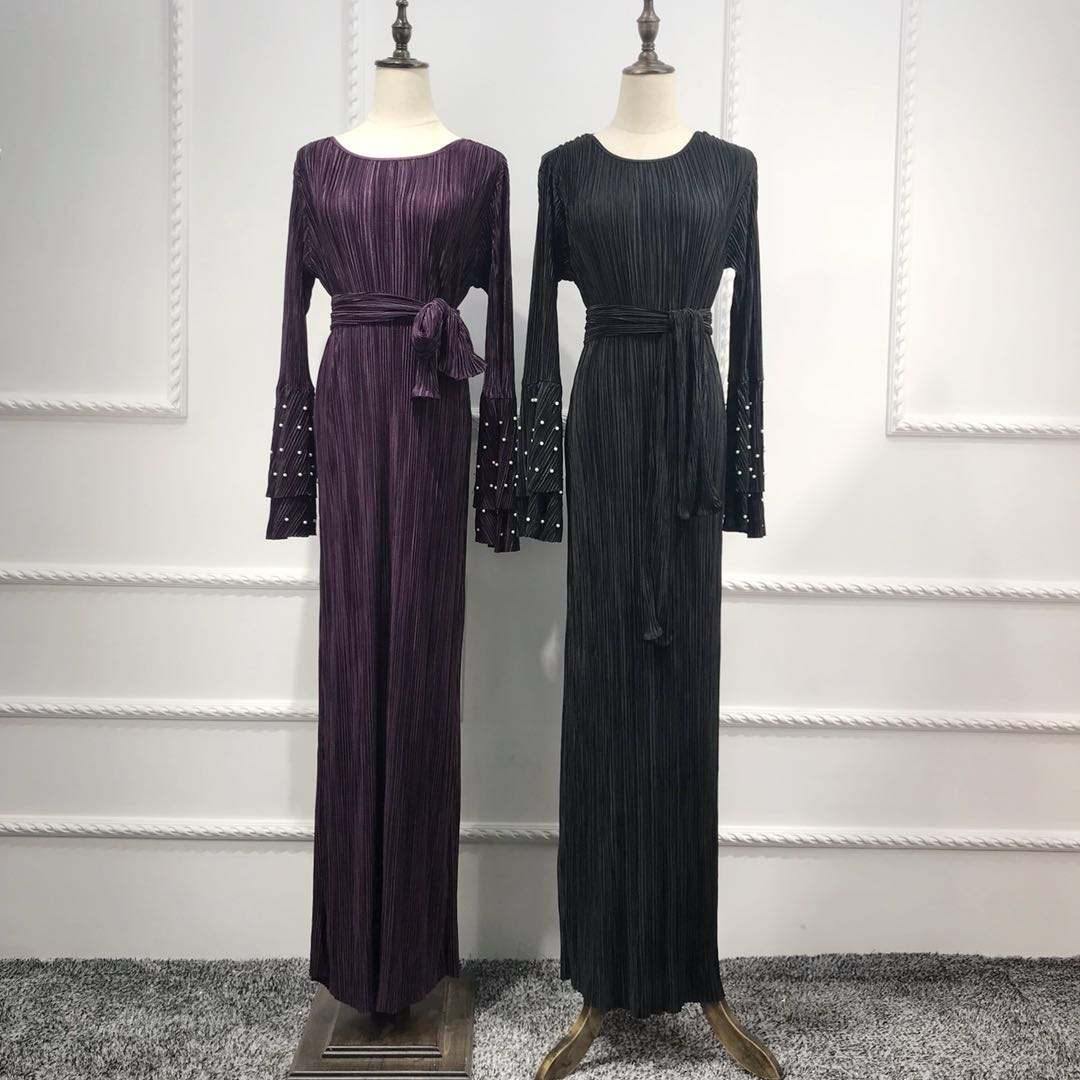Latest Arrival Pakistan Abaya Islamic Clothing Pleated Material Purple Indian Girls Plus Size Prom China Dress Manufacturer