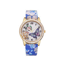 Hand Watch For Girl Flower Leather Watch Strap And Butterfly Pattern Dial Watch
