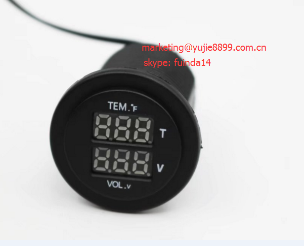 Hot! Temp/voltmeter socket Digital Voltmeter Temperature Gauge 2 in 1 LED Display