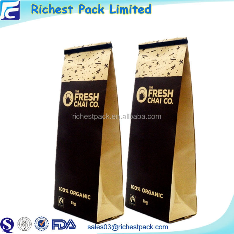Wholesale Food Grade Coffee Package 1 Kg Coffee Tea bag Pouch with Tin Tie