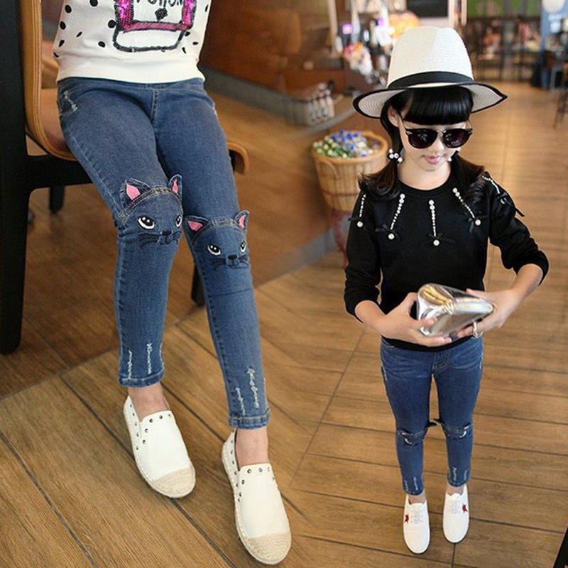 2018 Spring Fashion Kids Girls Jeans Pants Girls Leggings Cartoon Cat Children Pencil Pants Long Trousers Pantalon Fillette