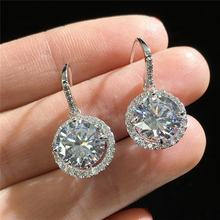 Fashion Long Earrings For Women Big Round Crystal Cubic Zirconia Dangle Earrings Silver Luxury Earrings Fashion Jewelry