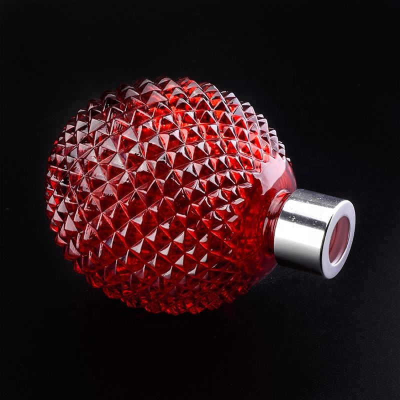 Luxury red round glass reed diffuser bottle fragrance aroma home decoration