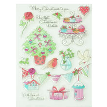 14pcs christmas tea party silicone clear rubber stamps