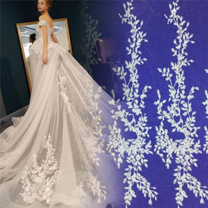Romantic bridal lace fabric design wedding gown lace fabric