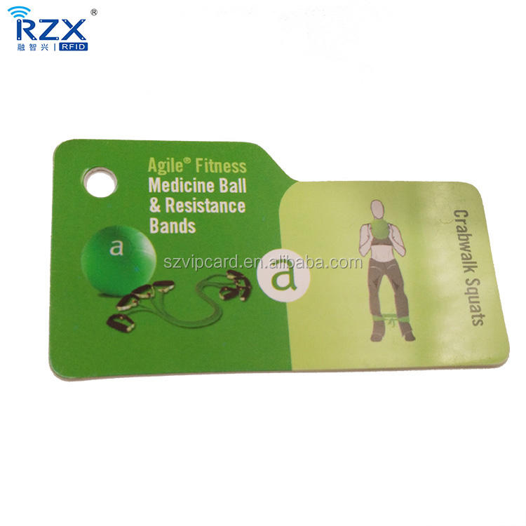 Irregular pvc die cut 5MM hole keytag coated business card with personalized design