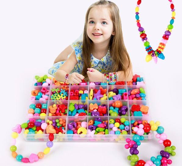 Assorted Plastic Bead Kit Accessories DIY Bracelet Toys Jewelry Making Kids Beads Set Creative Gifts for children