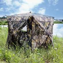 Autumn Camouflage Portable ground Deer hunting blind for 2 Person