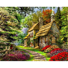 CHENISTORY DZ1085 Paint By Numbers Landscape Oil Spring Cottage No Frame For Kits
