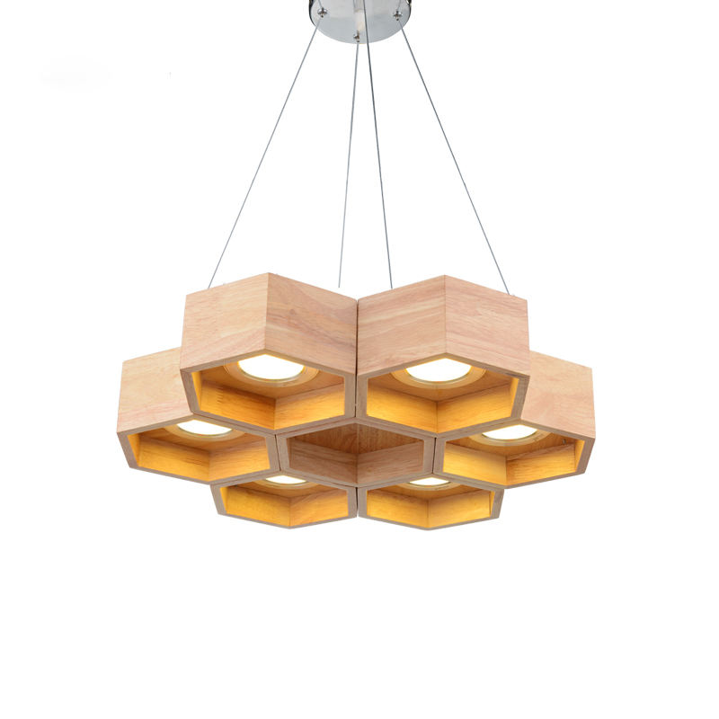 Modern Art Honeycomb Solid Wood LED Pendant Light Chandelier Ceiling Lamp For dining room living room Home Decor Lighting
