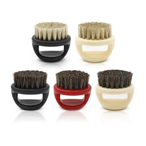 Men Shaving Face Hair Barber Cleaning Brush Black ABS Handle Boar Bristle Finger Beard Brush