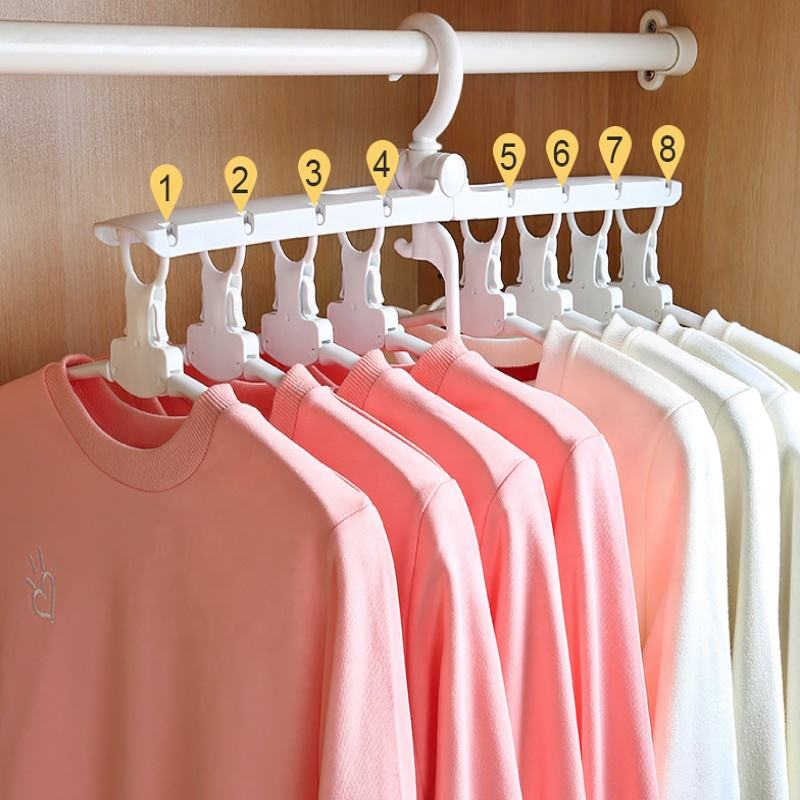 8 In 1 Plastic Clothing Hanger Multifunctional Hanger For Closet Hanger