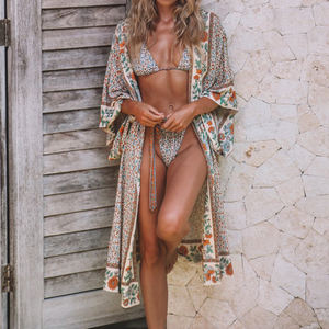 Print Cotton Beach Cover up Kimono de Plage Plus size Bathing suit Cover ups Beachwear 2019 Long Beach Dress Robe Plage Tunic