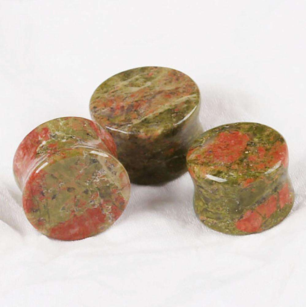 Unakite Jade Ear Plugs Western Style Ear Plugs