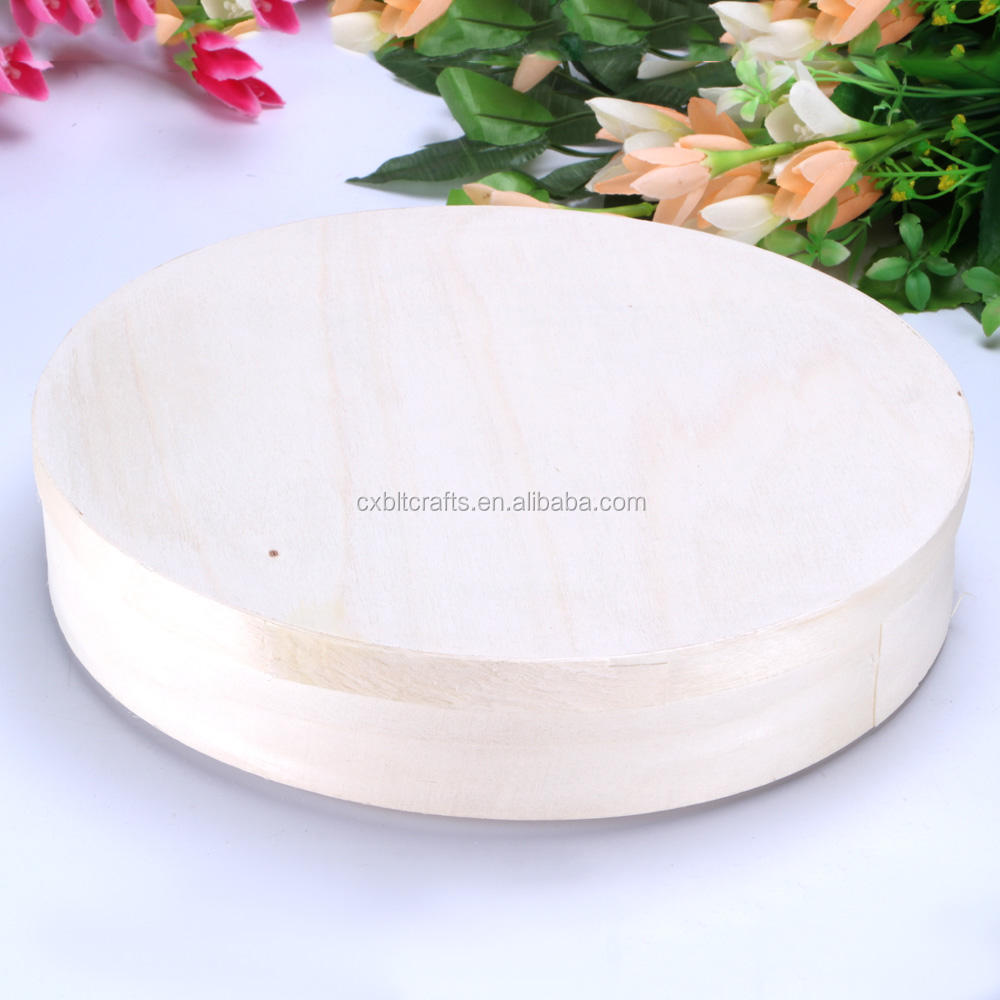 lightweight round poplar bark box for cake wooden cake/cheese packing box