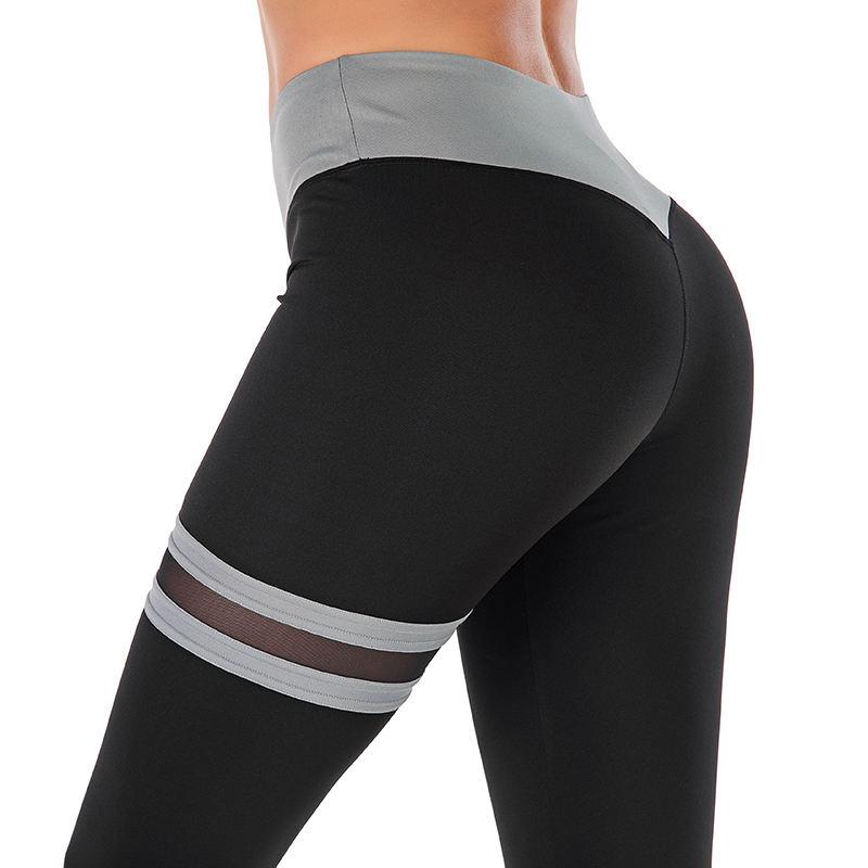 Sexy Mesh Patchwork Women Leggins Push Up Workout Leggings Femme High Waist Striped Leggings Elastic Sportswear Leggings