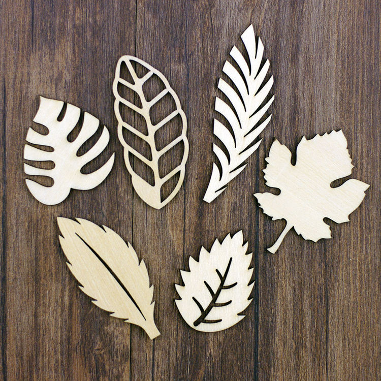 laser Wooden Craft Leaves Die Cut Embellishments For DIY Handicraft Die Cutting Wood Scrapbooking Card Making Crafts