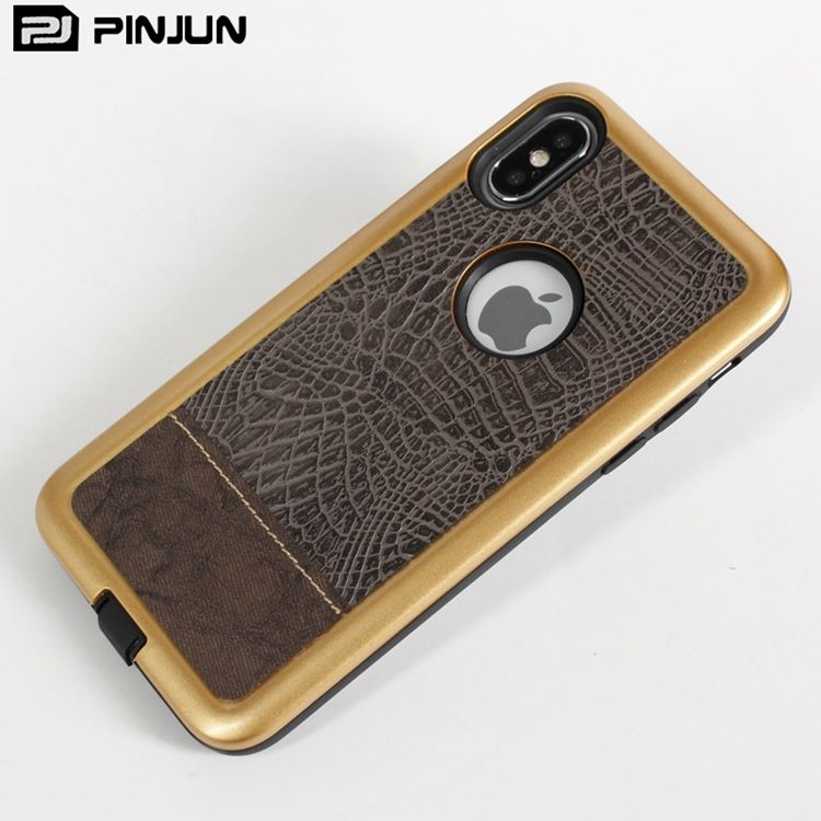 Oil coating PC bumper protective leathers accesory for iPhone x,for Apple x leather mobile phone shell