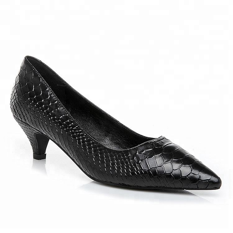 2019 China classy embossed genuine leather fashion design women dress ladies shoes sexy low small heels pointed toe black pumps