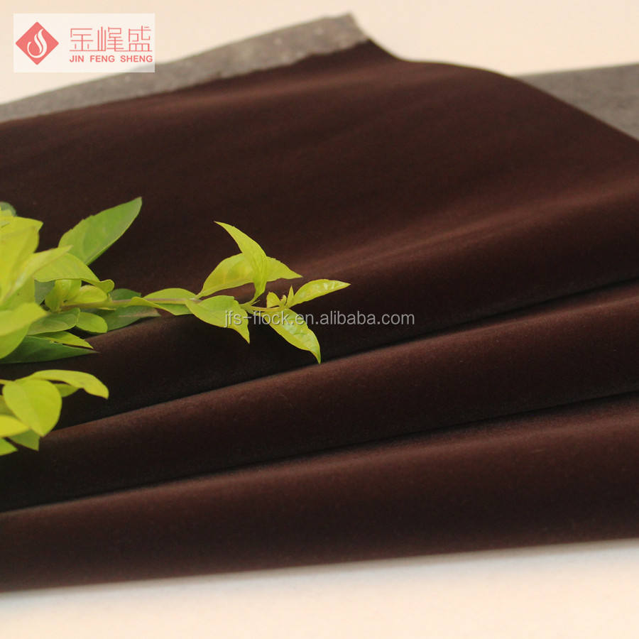 Economic and Reliable dark blue velvet flock fabric based on non woven material for package upholstery high quality
