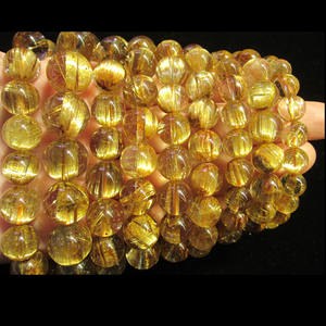 Super AAA Golden Rutilated QUARTZ Round Manik-manik Gelang Rutilated Kuarsa Manik 12 Mm 14 Mm 16 Mm