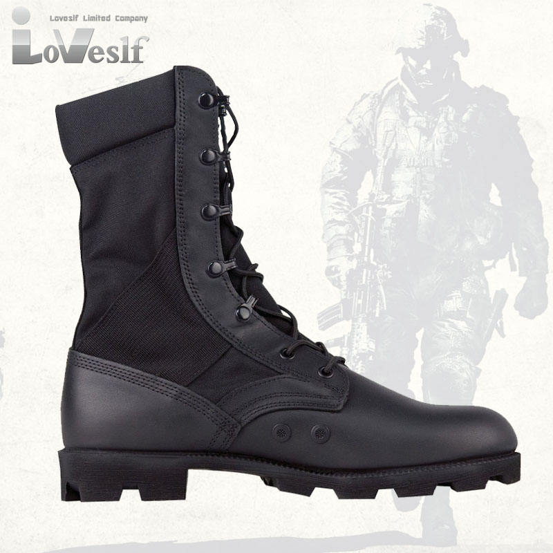 Loveslf black leather military boot army tactical outdoor safety boot wholesale