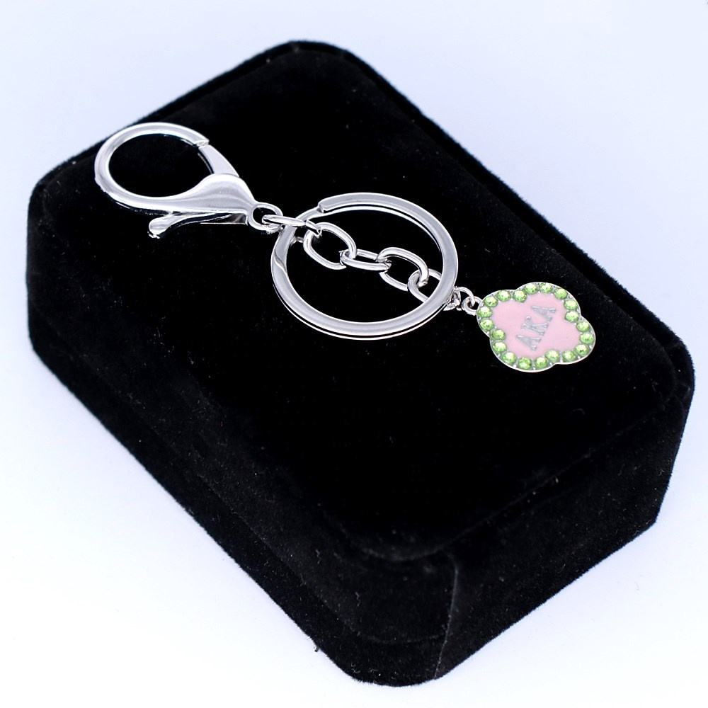 Metal Pink Enamel Green Crystal Greek Letter Sorority AKA Charm Keychains And Key Rings Alpha Society Jewelry For Sisterhood