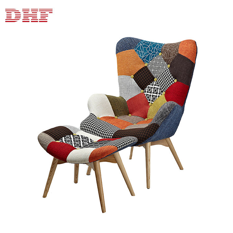 Wood [ Sofa ] DHF Fabric Seat Patchwork Wooden Modern Leisure Bedroom Single Sofa Chair