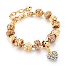 Latest design fashion jewelry personalized gold plated handmade bead Charm Bracelet