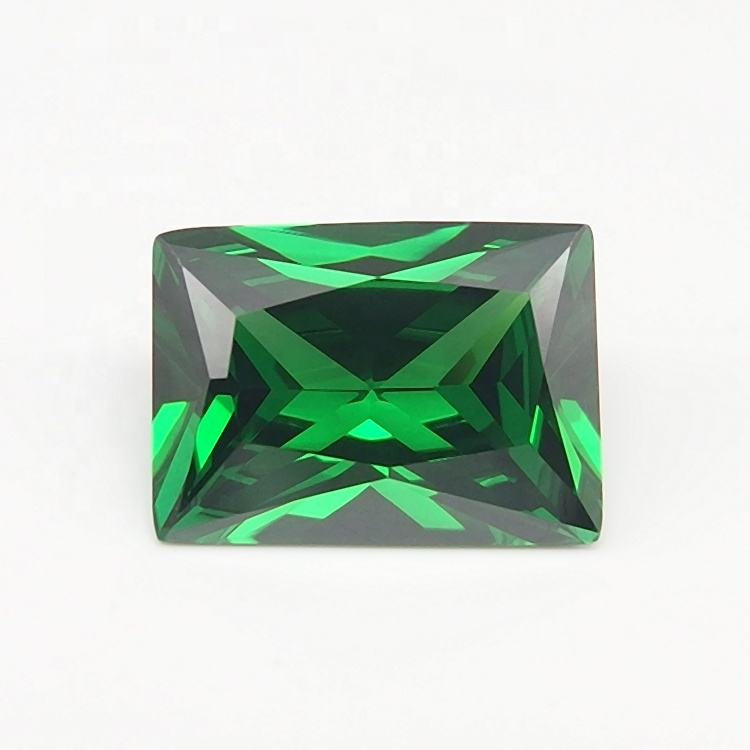 Manufacturer Price Lab Emerald Rectangle Cut Green Cubic Zirconia