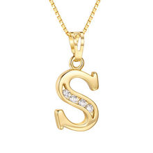 925 Sterling Silver Plated 18K Gold Letter S and B Pendant Necklace With Box Chain