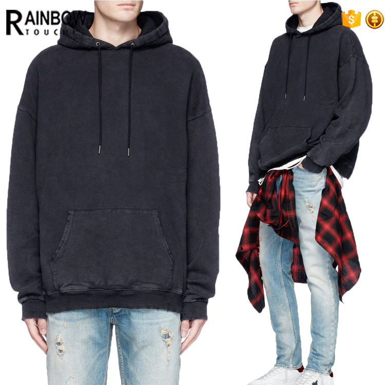 Wholesale High Quality Plain Black Oversized Acid Wash Pull Over Hoodie