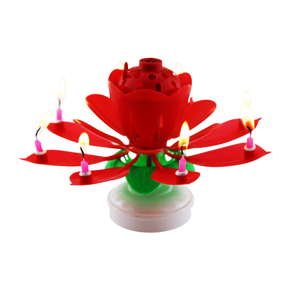 Wholesale Unique Opening Lotus Flower Rotating Sparkling Music Birthday Cake Candles With Double Layers