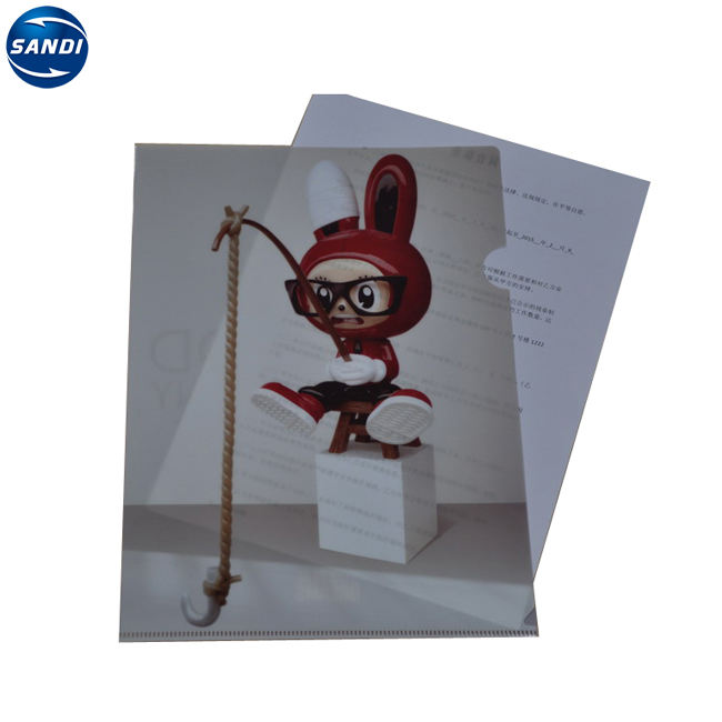 Promotional custom office L shape plastic PP clear holder file a4