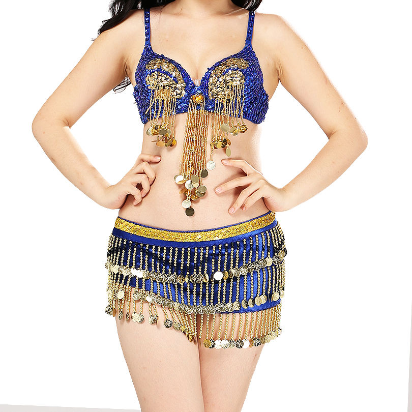 Belly Dance Costume Women Sexy Belly Dance Bra Belt Carnival Professional Performance Outfit Suit 2pcs