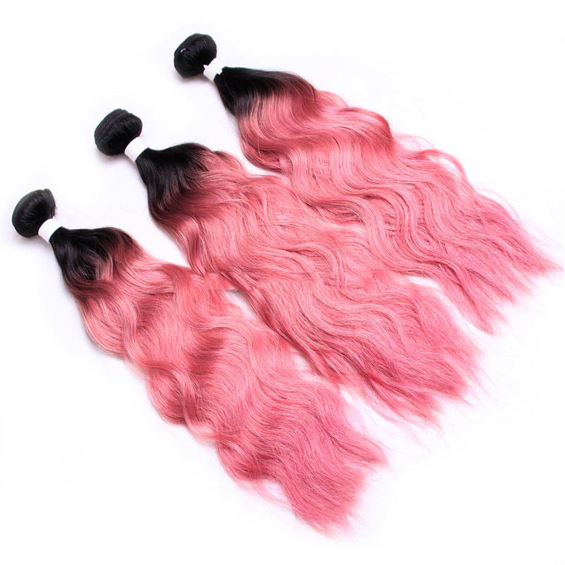 Popular texture cheap 20inch virgin remy brazilian hair weft 3 bundles of wet and wavy 1b pink extensions