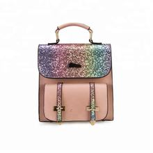 Fancy CheapTeenagers College Student glitter rainbow women backpack bag