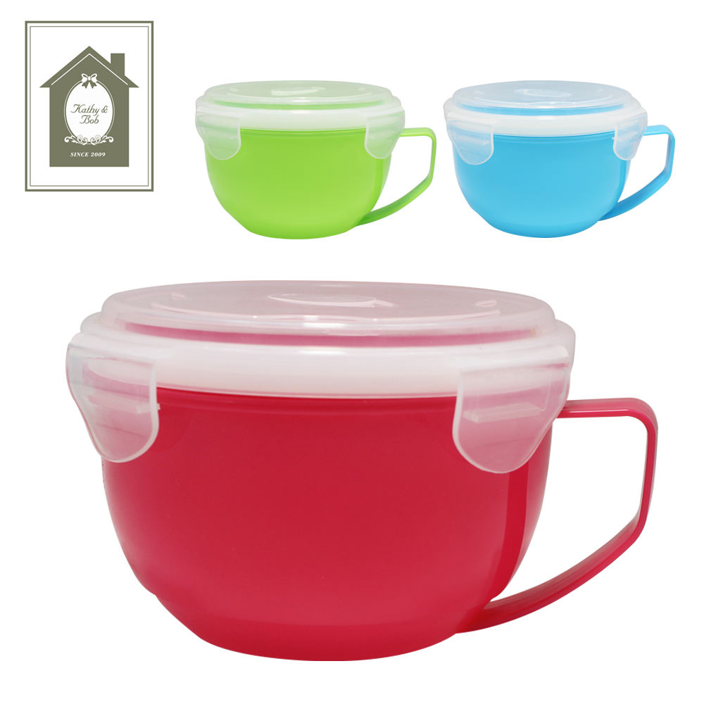 Plastic microwave soup bowl with lid and handle