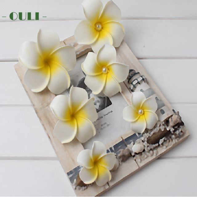 K-1011 4-9cm Wholesale artificial foam frangipani plumeria hair clips artificial foam flower for hawaii wreath